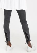 STYLE REPUBLIC - Lace-up Detail Leggings Grey