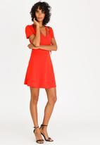 c(inch) - Embroidered Wrap Dress Orange