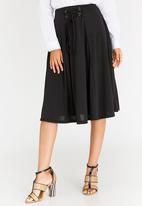 edit - Midi Flared Skirt with Trim Black