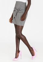 STYLE REPUBLIC - Tie Front Mini Skirt Grey