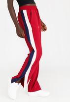 STYLE REPUBLIC - Racing Stripe Pants Burgundy