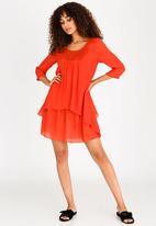 Revenge - Lace Detail Tunic Dress Orange