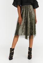 STYLE REPUBLIC - Mesh Overlay Skirt Dark Green