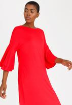 edit - 3/4 Frill Sleeve Dress Dark Red