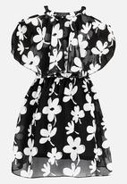 POP CANDY - Floral Cold Shoulder Dress Black