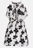 POP CANDY - Off Shoulder Flower Print Dress Black and White