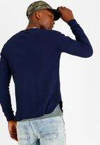 STYLE REPUBLIC - High Neck Sweatshirt with Pocket Navy