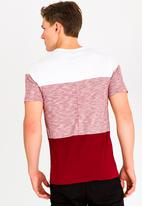 STYLE REPUBLIC - Tri Blocked Pocket Tee Burgundy