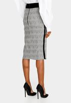 DAVID by David Tlale - Checked Pencil Skirt Black and White
