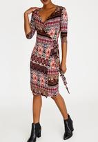 edit - Wrap Over Dress with 3/4 Sleeve - burgundy print