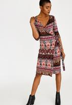 edit - Wrap Over Dress with 3/4 Sleeve Multi-colour