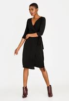 edit - Wrap Over Dress with 3/4 Sleeve Black