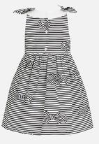POP CANDY - Bow Printed Stripe Dress Black