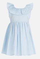 POP CANDY - Gathered Dress with Ruffle and Back Bow detail Mid Blue