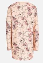 name it - Long Sleeve Floral Printed Sweat Dress Peach