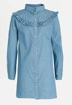 Rebel Republic - Frill Shirt Dress Mid Blue