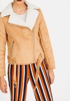 Forever21 - Short Zip Detail Biker Jacket Tan
