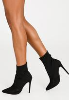 Cherry Collection - Pointed Stiletto Sock Boots Black