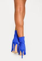 Cherry Collection - Pointed Stiletto Sock Boots Cobalt