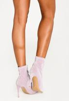 Cherry Collection - Pointed Lurex Sock Boots Pale Pink