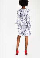 edit - 3/4 Flutter Sleeve Dress Blue