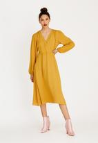 STYLE REPUBLIC - Volume Sleeve Mock Wrap Dress Yellow