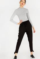edit - Casual Knit Pants with Side Detail Black
