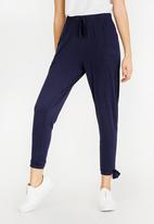 edit - Casual Knit Pants with Side Detail Navy