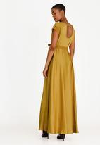 465e421ad6 Katya Satin-like Belted Maxi Dress Gold AMANDA LAIRD CHERRY Formal ...
