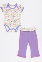 Twin Clothing - Short Sleeve Flower Two Piece Set Mid Purple