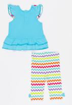 Twin Clothing - Short Sleeve Parrot Two Piece Set Multi-colour