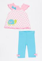 Twin Clothing - Short Sleeve Tortoise Two Piece Set Multi-colour