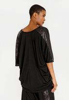 RUFF TUNG - Asanda Sequins Trim Top Black