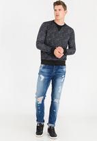 STYLE REPUBLIC - Relaxed Crew Neck Sweatshirt Black