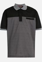 Twin Clothing - Short Sleeve Golfer Printed T-shirt Black