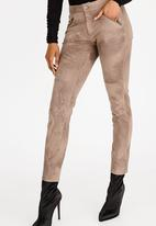 c(inch) - Suede Like Zip Detail Pants Taupe