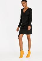 c(inch) - Asymmetrical Wrap Dress Black
