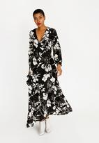 STYLE REPUBLIC - Cross over maxi dress floral - black