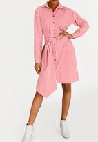 STYLE REPUBLIC - Belted check shirt dress - red & white