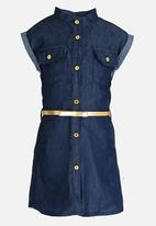 Twin Clothing - Front Button Belted Denim Dress Blue