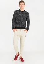STYLE REPUBLIC - Textured Crew Neck Sweatshirt Black