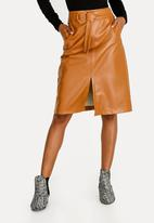 STYLE REPUBLIC - Belted Faux Leather Skirt Tan