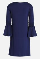 See-Saw - Flute Sleeve Swing Dress Navy