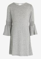 See-Saw - Flute Sleeve Swing Dress Grey Melange