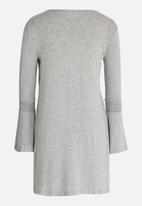 Rebel Republic - Flute Sleeve Swing Dress Grey Melange