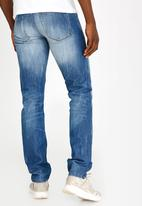 STYLE REPUBLIC - Straight Leg Washed Jeans Blue