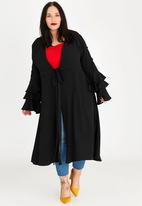 STYLE REPUBLIC PLUS - Tiered sleeve maxi cover-up - black