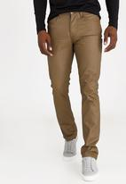 STYLE REPUBLIC - Coated Straight Leg Jeans Taupe
