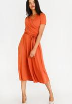 edit - Short Sleeve Fit and Flare Dress Orange