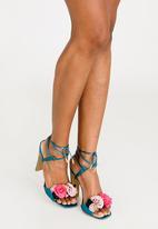 Footwork - Rosette Ankle-strap Heels Mid Blue